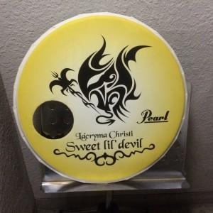 スタジオの入り口には、懐かしのドラムヘッドが。