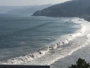 この獰猛な波が、砂浜を襲い……。